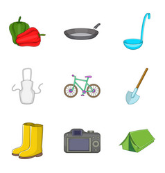 outdoor leisure icons set cartoon style vector image vector image