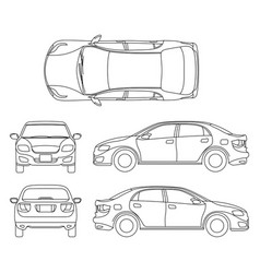 Outline sedan car drawing in different vector