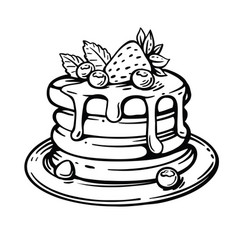 Pancakes lie on a plate with berries and syrup vector
