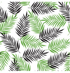 pattern with black and green palm leaves vector image
