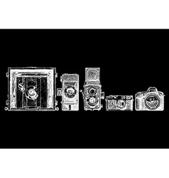 Photo cameras evolution set vector