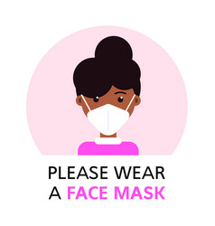Please ware a face mask flat style banner vector
