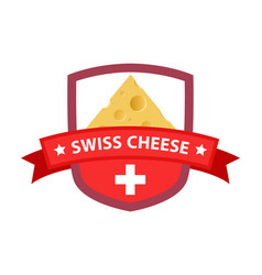 Red badge with swiss cheese vector