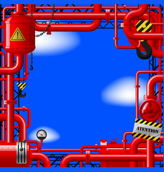 red gas pipes on blue sky vector image