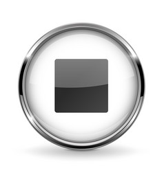 Round 3d button with metal frame stop icon vector