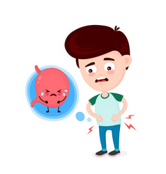 Sad sick young man with food poisoning vector