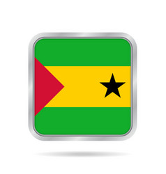 sao tome and principe flagmetallic square button vector image