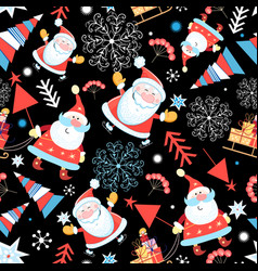 Seamless pattern santa claus and christmas vector