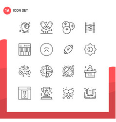 Set 16 outlines on grid for share movie vector
