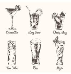 Set cocktail Cosmopolitan Beer Mojito drawn vector image