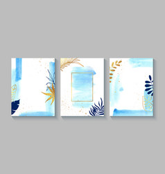 Set creative cards with blue watercolor golden vector