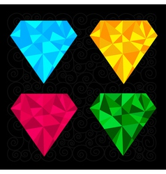 Set of four diamonds Blue yellow pink and green vector