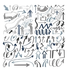 set of hand drawing isolated arrows collection on vector image