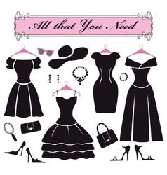 Silhouette black party dressesfashion flat set vector