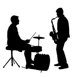 Silhouette musician drummer and saxophonist on vector