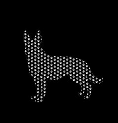 silhouette of german shepherd filled with white vector image