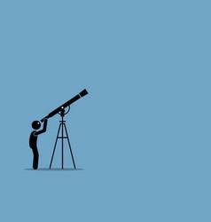 Stick figure man looking through telescope vector