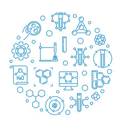 theoretical chemistry blue round outline vector image