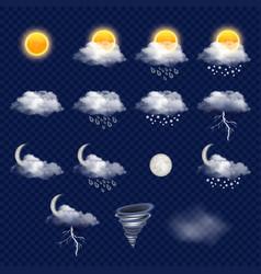 transparent weather forecast icon set vector image