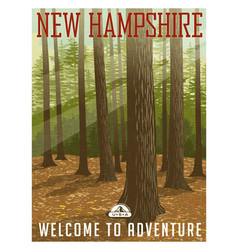 Travel poster or sticker new hampshire forest vector