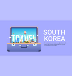 travel to south korea poster with seoul city vector image