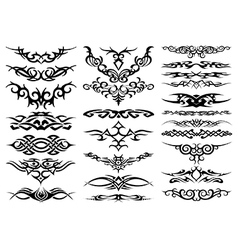 Tribal tattoo silhouettes vector image