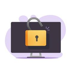 Unlocked computer access online with open padlock vector