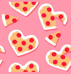 valentines day pink pizza heart seamless pattern vector image