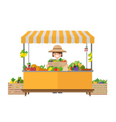 Vegetable fruit local shop farmer sell fresh vector