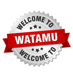 Watamu 3d silver badge with red ribbon vector image