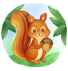 Watercolor cute squirrel on woods holding vector