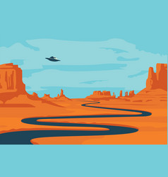 Western landscape with deserted valley and ufo vector