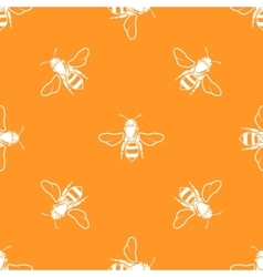 White bees orange background seamless vector image