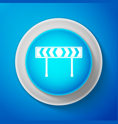 white safety barricade icon on blue background vector image