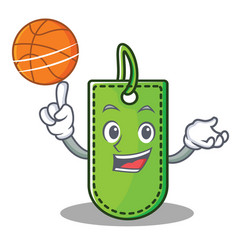 with basketball price tag character cartoon vector image