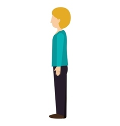 Woman standing with left profile blond vector