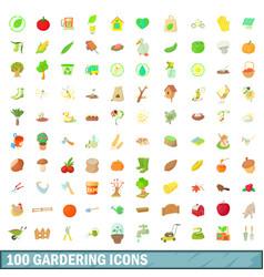 100 gardering icons set cartoon style vector image