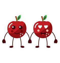 apples happy and in love fruit kawaii icon image vector image vector image