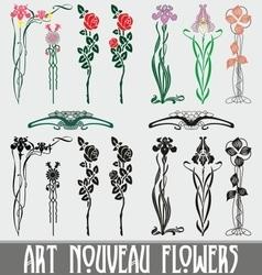 Art nouveau flowers vector