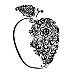 black and white apple decorated floral pattern vector image vector image