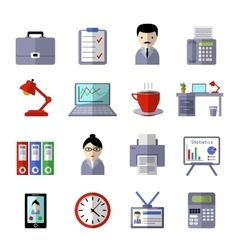 Office Colored Icon Set vector image vector image