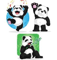 Panda Set Happy Waving Hand Eating Bamboo vector image vector image