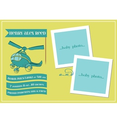 Baby Boy Arrival Card with Photo Frame vector image
