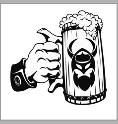 Beer mug in hand vector