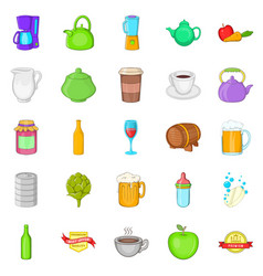 Breweries icons set cartoon style vector