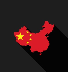 China flag map flat design icon vector image