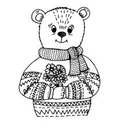 doodle bear vector image vector image