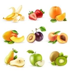 Fruits Flat Icons Set vector image vector image