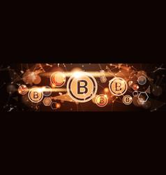 golden bitcoin horizontal banner digital currency vector image vector image