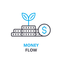 money flow concept outline icon linear sign vector image vector image